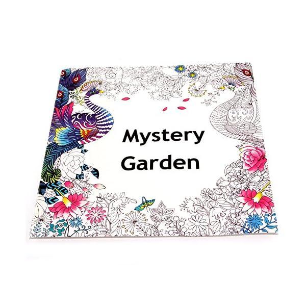 RROVE Libros de Pintura Inglés Misterio para Adultos Garden Treasure Hunt Coloring Painting Book 1