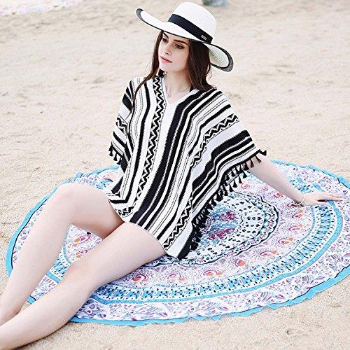 Futurino Damen Strand-Bekleidung V-Ausschitt Chiffon Lockere Bikini Mit Geometrischem Druck Schwarz