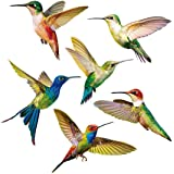 Yililay Hummingbird-raamstickers, 6 stuks, glazen raamstickers voor terrasdeuren, anti-botsingen, raam-slings, creatieve vlie