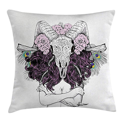 Skull Decorations Throw Pillow Cushion Cover, Tribal Lady with Horned Goat Head and Peacock Feather Mystic Voodoo Pattern, Decorative Square Accent Pillow Case, 18 X 18 Inches, Multi