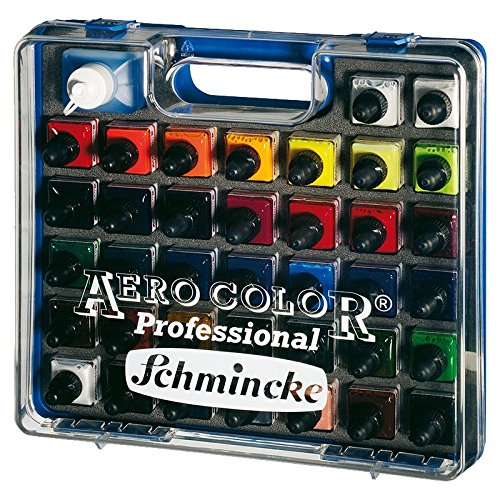 Airbrush Farben Set Schmincke Aero Color Professional Koffer Basis 37 x 28 ml + 125ml Clean Rapid Reinigungsmittel