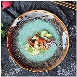 GWFVA Stile Europeo Ceramica Moda Piatto Creativo Cucina Occidentale Piatto di Bistecca Piatto di Pasta Piatto di Insalata Domestica Piatto Piatto Forno Cambia Acqua Cuore Colore Verde Ruota Piatt