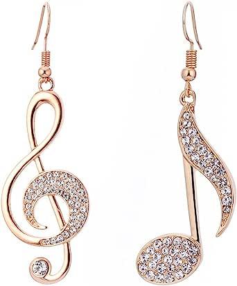 Orecchini pendenti con note musicali da donna, orecchini ipoallergenici placcati in oro rosa e argento con cristalli
