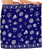 LA LEELA Likre Traje de baño Pirata cráneo Playa de Envoltura de los Pareo para Hombre Halloween Costume 78'X39' Azul_B924