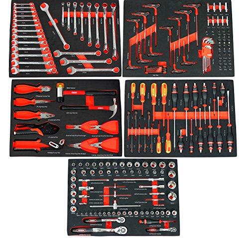 Ultra Edition Werkstattwagen | 7 Schubladen - 5 gefüllt mit Handwerkzeug | Werkzeugwagen abschließbar + COB Akku Arbeitsleuchte - 6