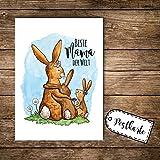ilka parey wandtattoo-welt® A6 Postkarte Ansichtskarte Flyer Print Muttertag Hasenfamilie mit Spruch Beste Mama der Welt pk107