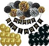 Happy Birthday Girlande Pompoms Gold Schwarz Silber Luftballons Geburtstag Deko Partydeko set