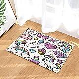 Enfants Decor Cartoon Unicorns coeurs chats arc-en-ciel et nœud papillon pour les filles tapis de bain anti-dérapant paillasson entrées au sol tapis de porte avant d'intérieur tapis de bain pour enfants 60X40CM salle de bains accessoires