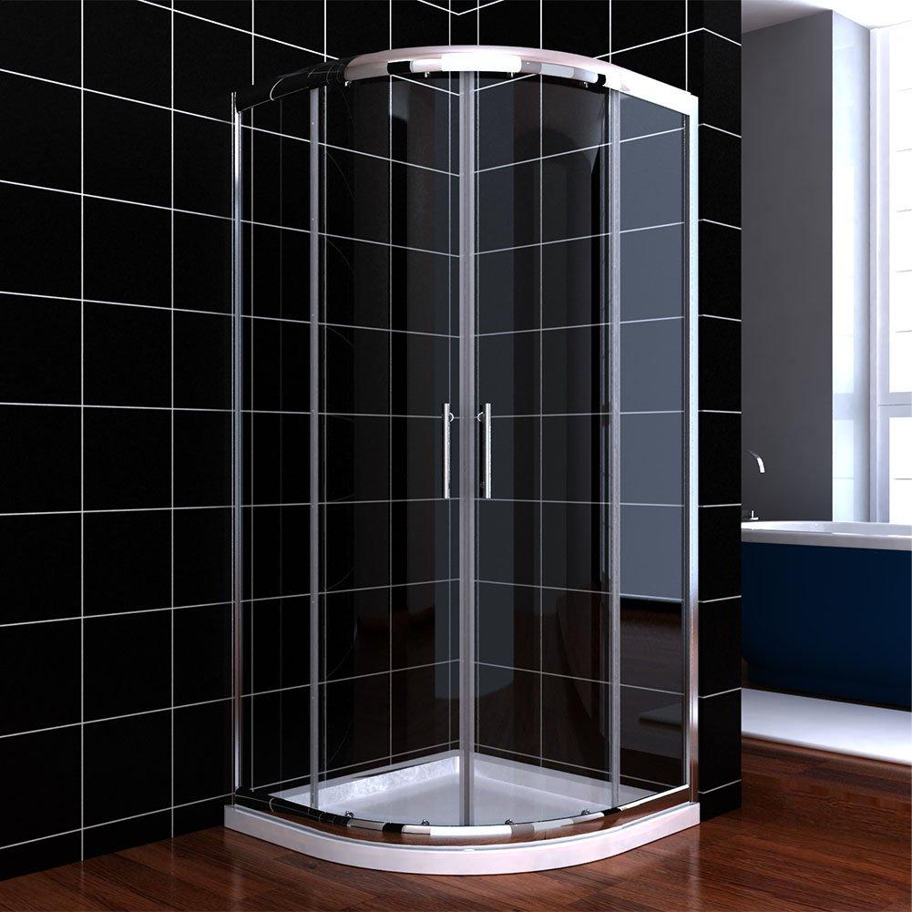 Duschabtrennung glas rund  Viertelkreis Duschkabine 80x80 Duschabtrennung mit Rahmen ...