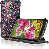 igadgitz u3498Folio PU Leder Handy Case Cover für Motorola Google Nexus XT1100XT1033mit Displayschutzfolie–Blumen