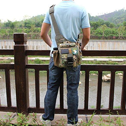 Yihya Militare multifunzionale Nylon bag Tactical Marsupio Tattico Messenger Zaino Bag Zaino di Assalto per Sport Esterni Avventura Climbing & Riding Borsa da Viaggio - Spalla-kaki Messenger Bag-camouflage