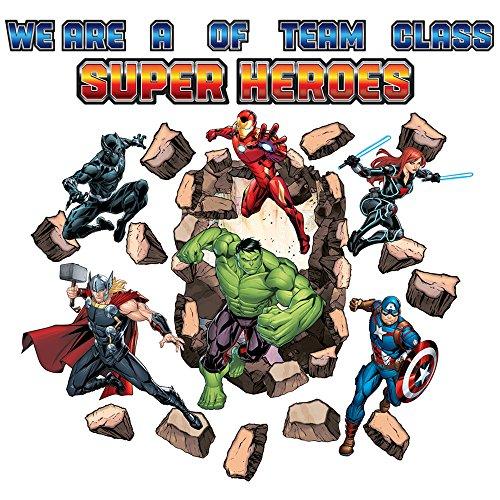 Eureka Backto School Marvel Avengers 'Assemble' Superhelden-Schild und Klassenzimmer-Dekoration, 27-teilig, 43 x 61 ()