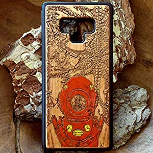 Nautical Phone Case Compatible with iPhone XR/XS Max/X / 8/7 / 6 / 6s Plus, Samsung Galaxy S9 / S10, Note 8/9, Huawei P20 / Mate 20 Pro, Real Wood Hand Painted,