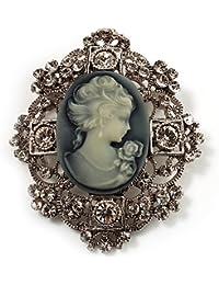 Broche en filigrana de heredera Camafeo en acabado de plata antigua