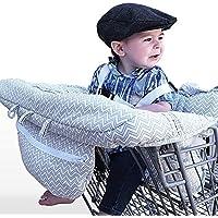 LeRan Réglable Bébé Supermarché Shopping Trolley Protège Siège Housse de chaise haute universelle pour tout-petits et housses de coussins de panier avec sac de transport, poussettes lavables, organiseurs plus souples, maintien de la sécurité des enfants (gris)