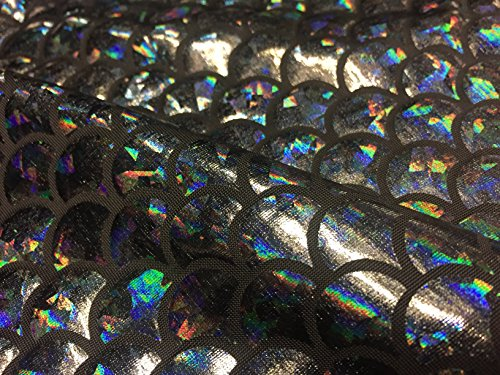 Jersey sirène Échelle Tissu Poisson Tale Foil - Spandex Lycra Tissu élastique - 2 directions - 150 cm de large - Gris noir (vendu au mètre)