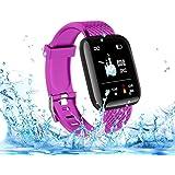 Langguth Smartwatch in de kleur paars, fitness polshorloge, 1,3 inch touchscreen, fitness tracker met ECG, waterdicht IP67 fi