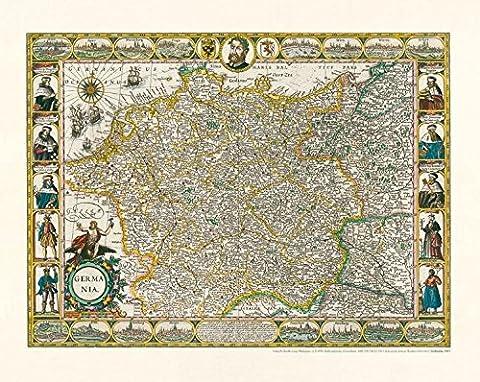 Historische Karte: Deutschland - Germania, 1607. Kartograph: Jodocus Hondius [1563 bis 1612] (Trachten Deutschland)