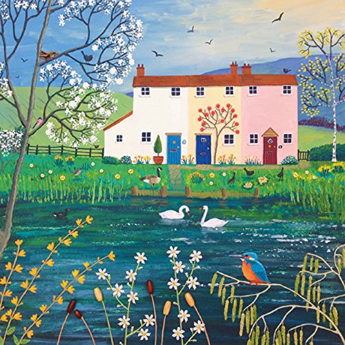 Riverside Cottages Square Blank Greeting Card by Artist Jo Grundy Art Cards