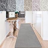 casa pura Teppich Läufer Sundae | Meterware | Teppichläufer für Wohnzimmer, Flur, Küche usw. | kuschlig weich | mit Stufenmatten kombinierbar (Silber - 66x100 cm)