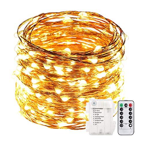 Acde catena luminosa 10 metri 100 led a batteria con telecomando timer impermeabile filo rame luci stringa per esterno interno natale decor--giallo caldo