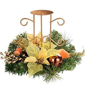 WeRChristmas 22 cm Juego de Centro de Mesa con portavelas Sencillo de árbol de Navidad, Cobre/Dorado