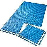 TecTake Set di tappetini di protezione tappetino da fitness | Antiscivolo, antimacchia | Sistema ad incastro ampliabile - disponibile in diverse quantità i modelli differenti (8x blu | no. 402655)