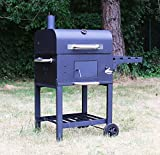 XL Smoker BBQ Grillwagen Holzkohle Grill Grillkamin Standgrill Räucherofen Gartengrill, Holzkohlegrillwagen Barbecue Grill, Warmhalterrost, Barbecue Grill mit Deckel