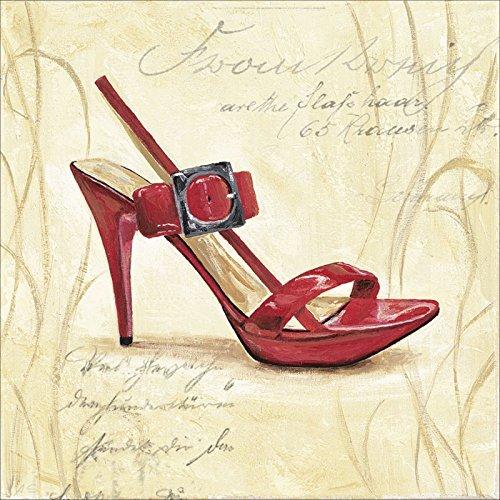 Artland Leinwand auf Keilrahmen oder gerolltes Poster mit Motiv A. S. Stiletto III - Schuh Menschen Mode Malerei Creme A4FP (Schuhe Leinwand Malerei)