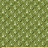 ABAKUHAUS olivgrün Stoff als Meterware, Rhombus-Quadrate,