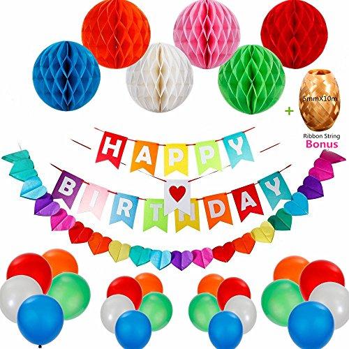 n Set, Happy Birthday Dekorationen Banner Party-Zubehör für Mädchen und Jungen Jeden Alters, Happy Birthday Girlande 280cm/110inch | 15 Stücke Luftballons mit 10m Ribbon | 6 Stücke Wabenbälle Papier (Geburtstag-mädchen-mädchen Zubehör)