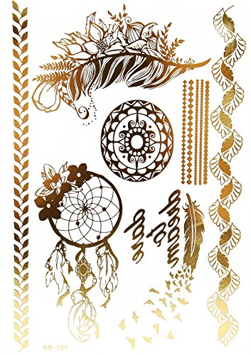 tab37-planche-tattoo-tatouage-temporaire-metallique-body-art-symboles-ethnique-or