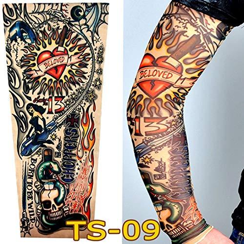 over Tattoo Ärmel Blume Arm Tattoo Männer und Frauen Sonnencreme Ärmel Concealer Armband Reithülse, TS09 ()