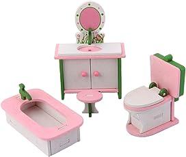 Magideal Dollhouse Furniture Wooden Toy Kids Bath Room Set