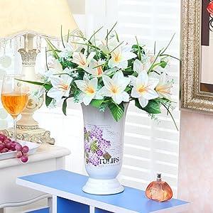 Xin Pang Salón De Flores Artificiales Flores Decorativo Florero High-Grade Simulación Traje De Flores Arreglo Floral Flor House Muebles para El Hogar Flores Flores Flores De Seda, Azucena 15 Flores