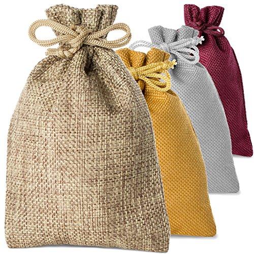 12 Set Jute-Säckchen Farbe natur, Größe 10 x 15 cm für den eigenen Adventskalender zum Befüllen (in 4 verschiedenen Farben erhältlich)