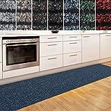 casa pura Küchenläufer Granada in großer Auswahl | strapazierfähiger Teppich Läufer für Küche Flur UVM. | Rutschfester Teppichläufer/Flurläufer für alle Böden (80x300 cm Blau)