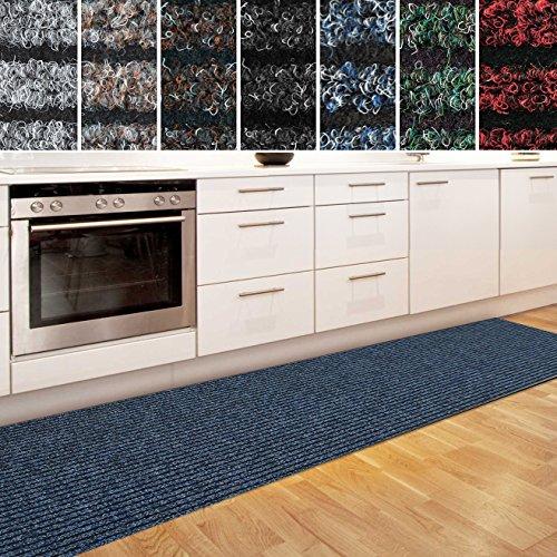 casa pura Küchenläufer Granada in großer Auswahl | strapazierfähiger Teppich Läufer für Küche Flur UVM. | Rutschfester Teppichläufer/Flurläufer für alle Böden (80x200 cm Blau)