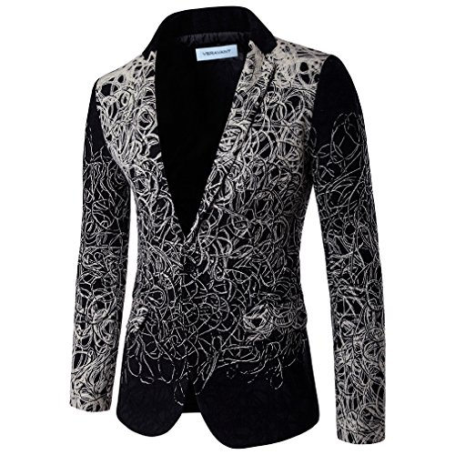 Veravant blazer homme a fleurs grande taille chic décontracté veste Noir