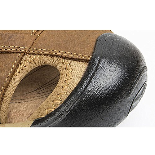 Zhuhaitf Casual Mens Soft Shoes Synthetic Leather Sandals Outdoor Closed-Toe Beach Shoes brown