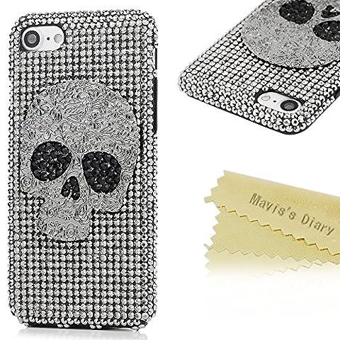Mavis's Diary Coque iPhone 7(4.7 inch) PC Rigide Noir Bling Crâne Housse de Protection Étui Téléphone Portable Phone Case Cover+Chiffon