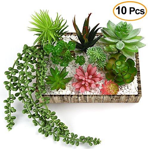 KUUQA 10 piezas de flores artificiales suculentas para colgar plantas, tallos para decoración del hogar, interior, jardín, bricolaje