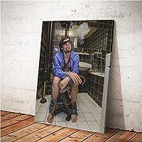 MINRAN DECOR A Druck Poster Kunstdruck – Toilettenmalerei CP136 – Modern Art Canvas Print - Canvas Print Stretched on a Frame als Moderne Wanddekoration, A, 50 * 60CM
