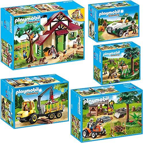 Preisvergleich Produktbild PLAYMOBIL® Country 5er Set 6811 6812 6813 6814 6815 Forsthaus + Förster-Picku...