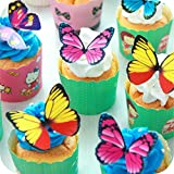 Butterfly Cake Toppers 40Pcs Set, GUGUJI Chocolate Mousse Cake Cupcake Toppers Picks Decoration (4 Patterns X...