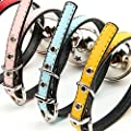 QHGstore PU leather Adjustable Collar Necklace Buckle Bell Pet Dog Cat Puppy