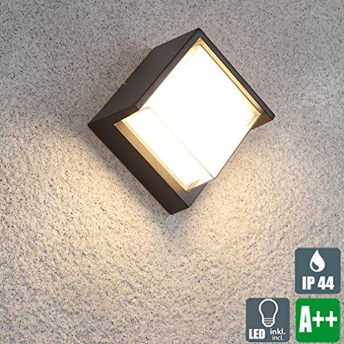 Retro LED Außenwandleuchte, Schwarz Kreative Wandleuchte, Platz Design, Doppelschicht PC Lampenschirm Wandlampe, Klassische Innen und Außen Wand-Beleuchtung, 10W 750 Lumen, Weiß-Licht