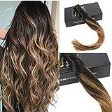 Sunny Remy Extensions Cheveux 20 Bandes Adhesives Rapide Balayage Naturel Noir avec Brun 18Pouce/45cm Dip Dyed Tape Extensions de Cheveux Humains 50g