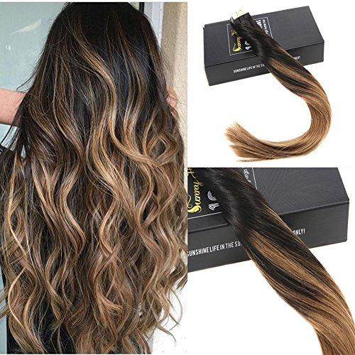 Sunny 16 pollice/40cm tape estensioni dei capelli naturali lisci remy glue in capelli extensions balayage nero naturali con marrone 50g