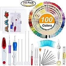 Aguja de punzón para bolígrafo de bordado mágico, 50 hilos de color, juego de